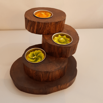 3 tier recycled teak tea light holder