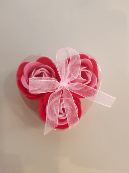 Soap Roses in Heart Box