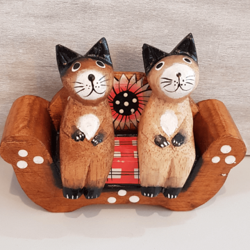 Cats Sat on Flowery Sofa Wood Ornament