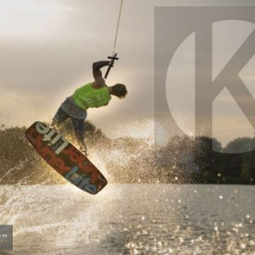 Wakeboarding at sunset in The Cotswold Water Park - digital high res photo file