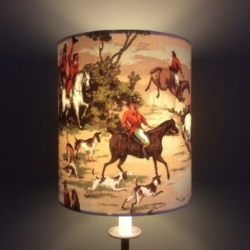 Horse Hound GONE TO EARTH Vintage Fabric Lampshade