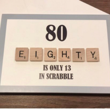80TH SCRABBLE BIRTHDAY CARD