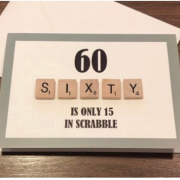 60TH SCRABBLE BIRTHDAY CARD