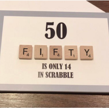 50TH SCRABBLE BIRTHDAY CARD