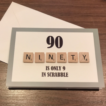 90TH SCRABBLE BIRTHDAY CARD