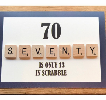 70TH SCRABBLE BIRTHDAY CARD