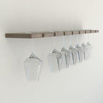 Floating Oak Wine Glass Rack – Dark Oak