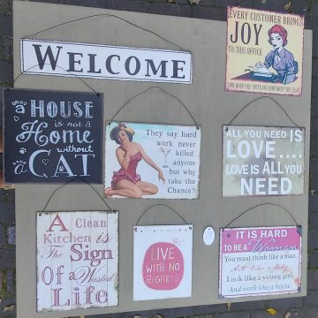 Tin hanging signs
