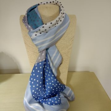 Blue Stripes and Spots Scarf