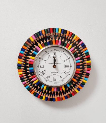 Rainbow Colours Recycled Pencil Clock