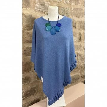 Frilled Poncho Denim