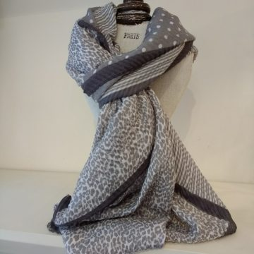 Grey Combo Scarf
