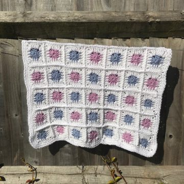 The Granny Square Blanket - lilac and cornflower blue
