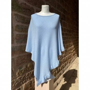 Frilled Poncho Light Blue