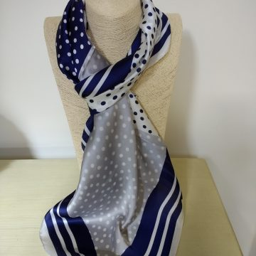 Navy Stripes and Spots Scarf