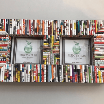 Recycled Paper Tube Double Picture Frame