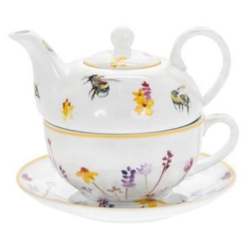 Bee and Wild Flower Teapot and Teacup Gift Set