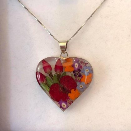Real Flower Silver Heart Necklace