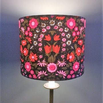 Dramatic Black and Pink Floral Daisychain vintage fabric Lampshade