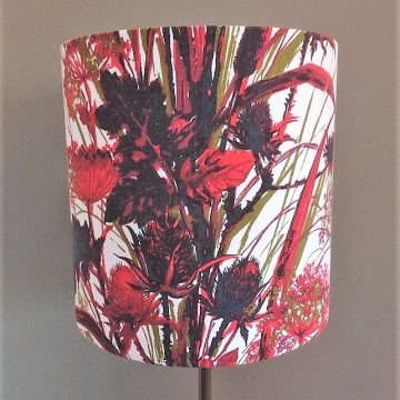 Bull Rush and Teasel Black and Red vintage fabric Lampshade