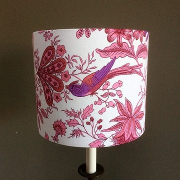 Lovely PINK and Purple BIRD Jonelle Spice Island Vintage fabric Lampshade