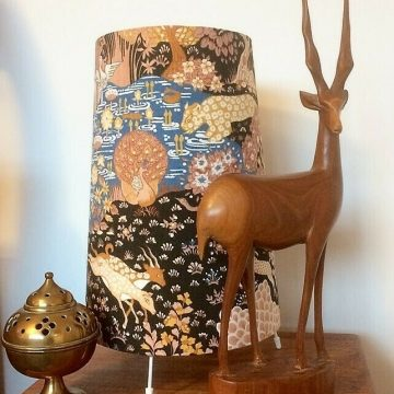 Dramatic and Unusual Black Animal Kingdom Lamp made from a Sanderson Vintage fabric