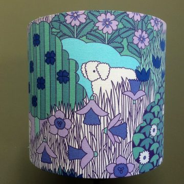 RETRO Nursery SHEEP MAY SAFELY Pat Albeck 60s 70s Vintage Fabric Lampshade