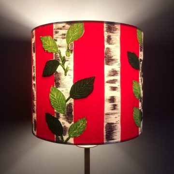 Scandi Style BOLD Red Silver Birch Lampshade