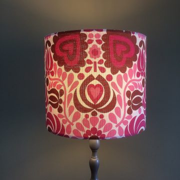 RETRO 60s 70s MOD Pink and white Hearts and  Flowers  Vintage Fabric Lampshade