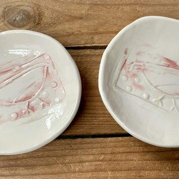 Ceramic handmade Christmas Robin dishes- set of 2