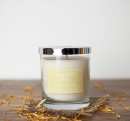 Lemon Zest Glass Jar Scented Candle
