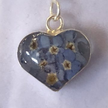 Forget-Me-Not Silver Heart Drop Earrings