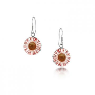 Pink Daisy Silver Drop Earrings