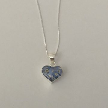 Forget-Me-Not Silver Heart Pendant Necklace
