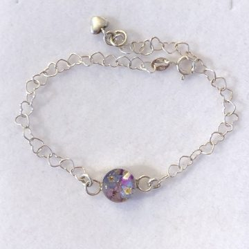 Silver Heart Link Bracelet with Real Flower Charm