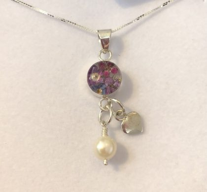 Purple Flower Pendant with hanging pearl and silver heart